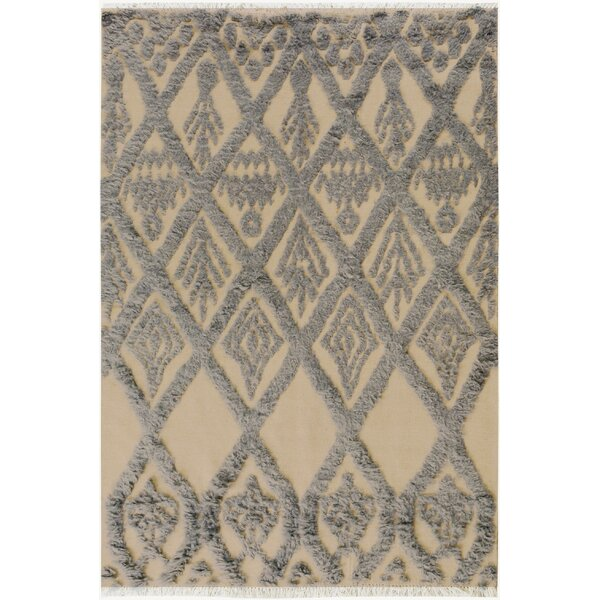 One-of-a-Kind Alastar Hand-Knotted Wool Ivory/Blue Area Rug by Bungalow Rose