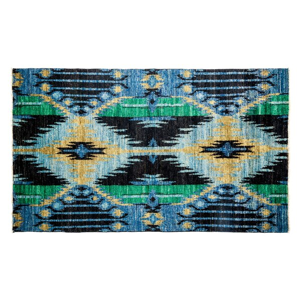 One-of-a-Kind Ikat Hand-Knotted Blue Area Rug by Darya Rugs