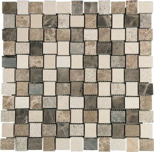1 x 1 Marble Mosaic Tile in Brown/Cream by Interceramic