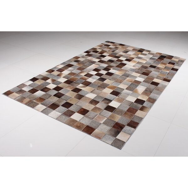 Berry Squares Hide Cowhide Brown Area Rug by Brayden Studio