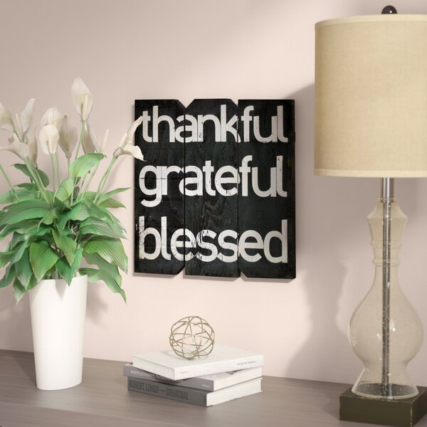 Thankful Grateful Blessed Textual Art Plaque by Zipcode Design