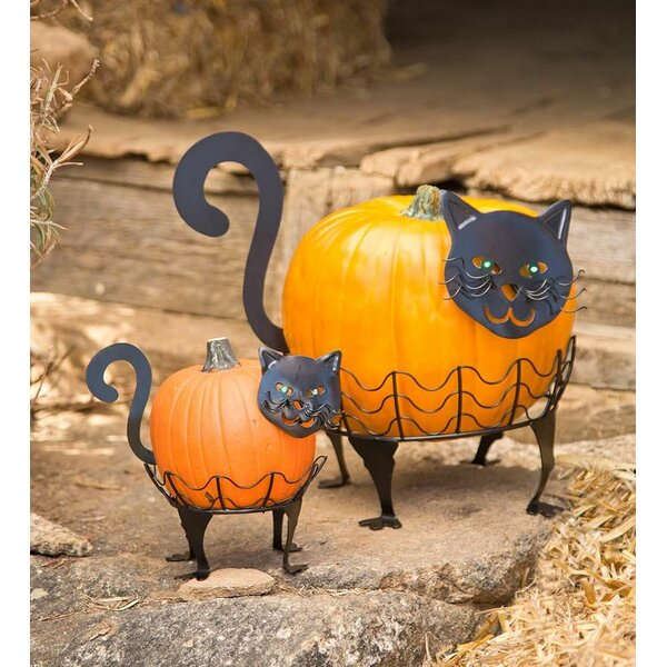 2 Piece Cat Pumpkin Holder Figurine Set by Plow & Hearth