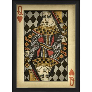 Queen of Hearts Harlequin Playing Card Framed Graphic Art Print by The Artwork Factory