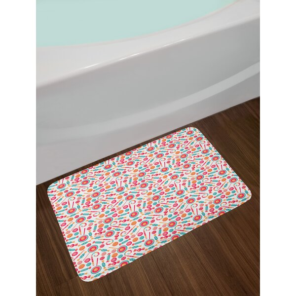 Colorful Christmas Candy Cane Bath Rug by East Urban Home