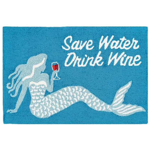 Leigh Save Water Drink Wine Hand-Tufted Ocean Indoor/Outdoor Area Rug by Highland Dunes