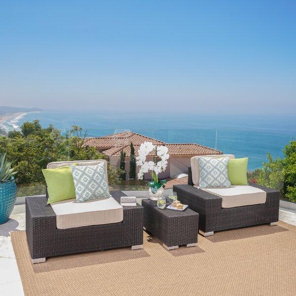 Hettie 3 Piece Rattan Sunbrella Conversation Set with Cushions by Orren Ellis
