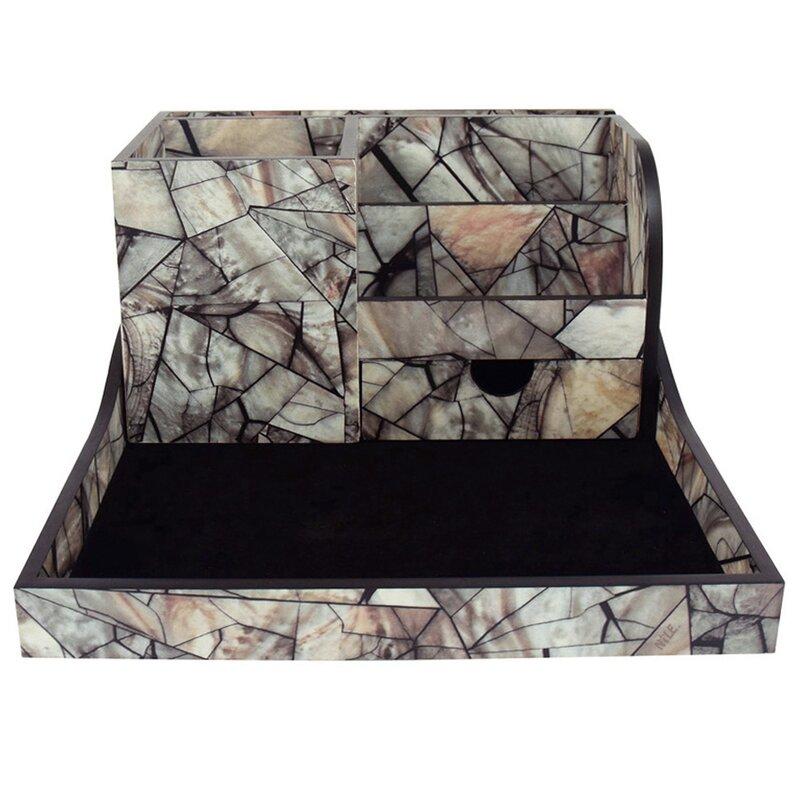 Premium 2 Piece Wooden Marble Office Storage Desk Organizer Set