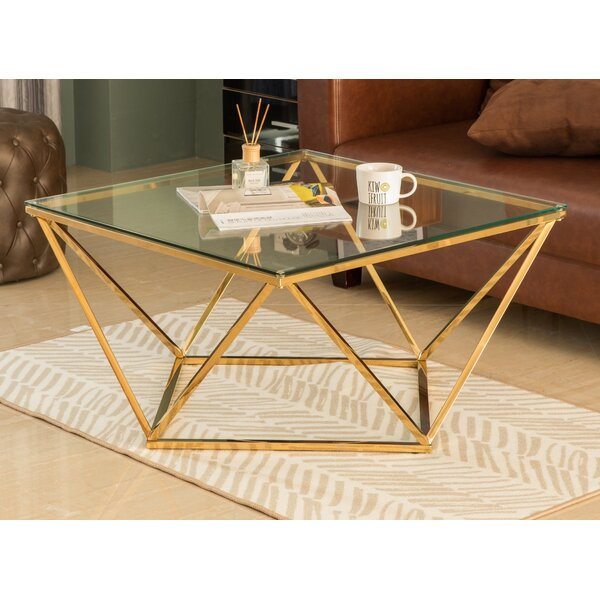 Diamond Shaped Glass Modern Stainless Steel Metal Coffee Table By Everly Quinn