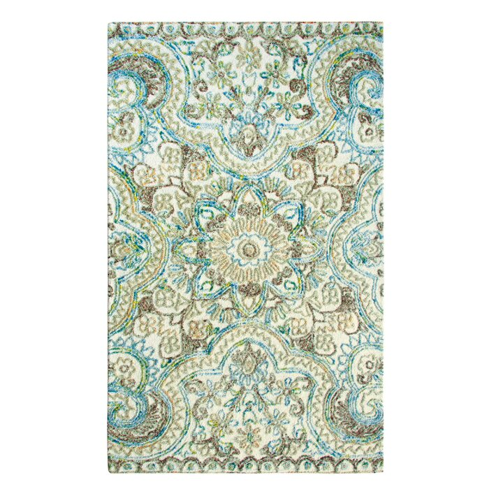 Agra Hand Tufted Wool Beige Blue Area Rug