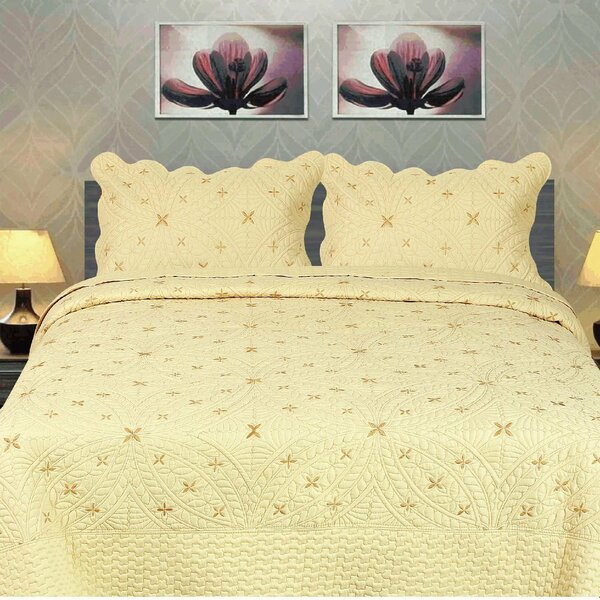 Geometric Golden Stars Reversible Quilt Set by Tache Home Fashion