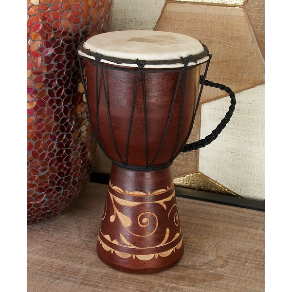 Wood Leather Djembe Drum by Cole & Grey