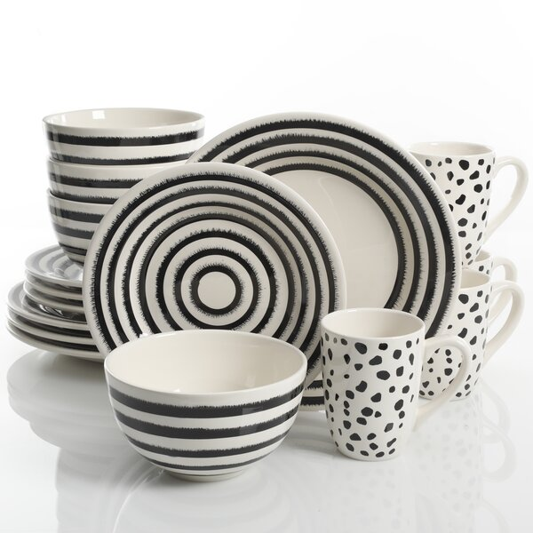 Joshua Decorated Durastone 16 Piece Dinnerware Set, Service for 4 by Langley Street