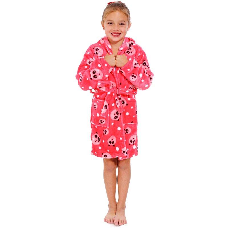 3-12T Toddler Boys Girls Flannel Bathrobes Spa Bath Towel Night-Gown Pajamas Sleepwear Home Wear with Pockets