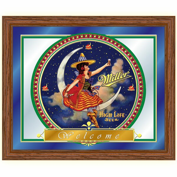 Miller High Life Girl in The Moon Framed Vintage Advertisement by Trademark Global