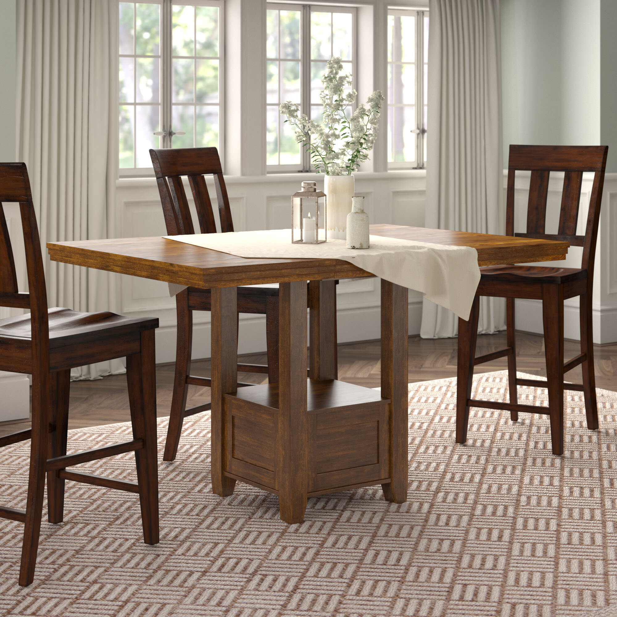 Picture of: Andover Mills Rebecca Counter Height Extendable Dining Table Reviews Wayfair