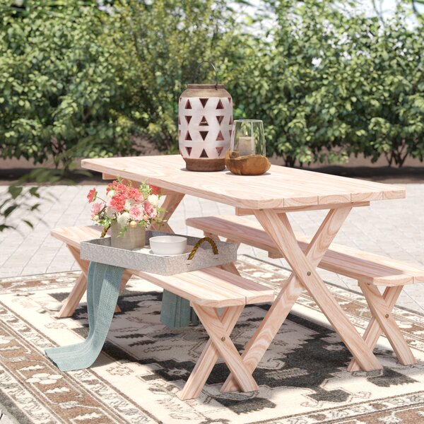 Handanyan Pine Cross-leg Picnic Table with 2 Benches by Loon Peak