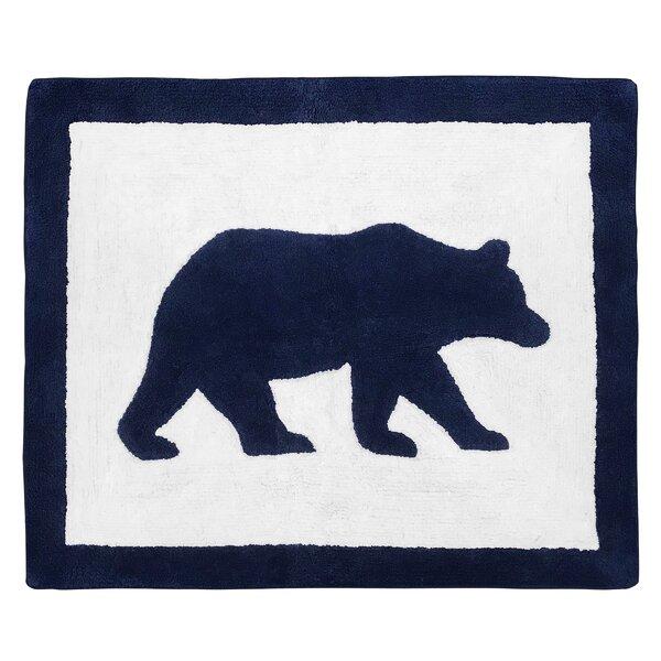 Big Bear Cotton Navy Blue/White Floor Rug by Sweet Jojo Designs