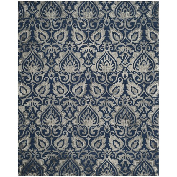 Brennan Hand-Tufted Wool Navy Area Rug by Bungalow Rose