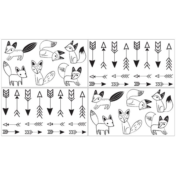 Black and White Fox Collection Wall Decal (Set of 4) by Sweet Jojo Designs
