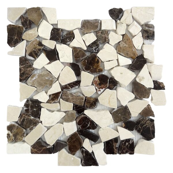 Random Sized Marble Mosaic Tile in Mocha/White by FuStone