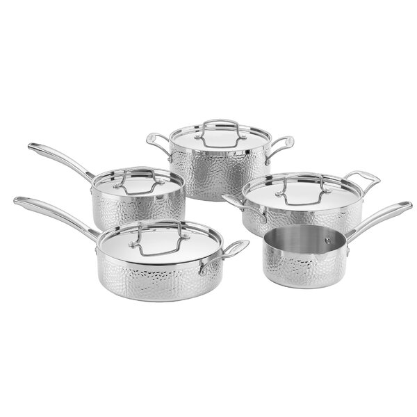 Hammered 9 Piece Stainless Steel Cookware Set by C