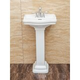 Roosevelt Vitreous China Oval Pedestal Bathroom Sink with Overflow by Fine Fixtures