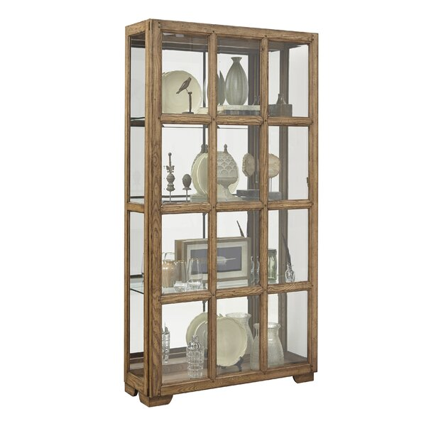 Clyde Windowpane Sliding Door Lighted Curio Cabinet by Rosecliff Heights