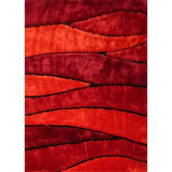 Owens Shaggy Hand-Tufted Red Area Rug by Orren Ellis