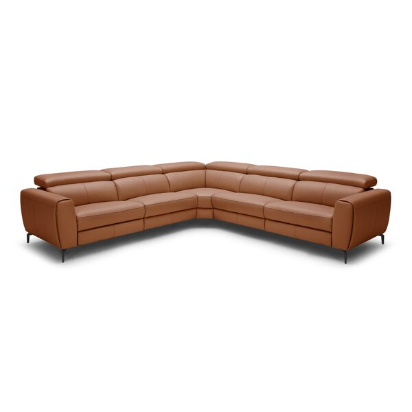 Paulson Leather Reclining Sectional by Brayden Studio
