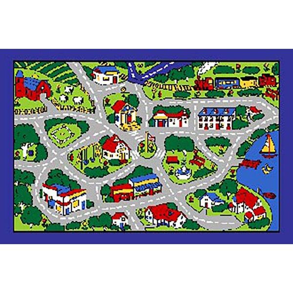 Struck Kids Port Town Street Map Gray Area Rug