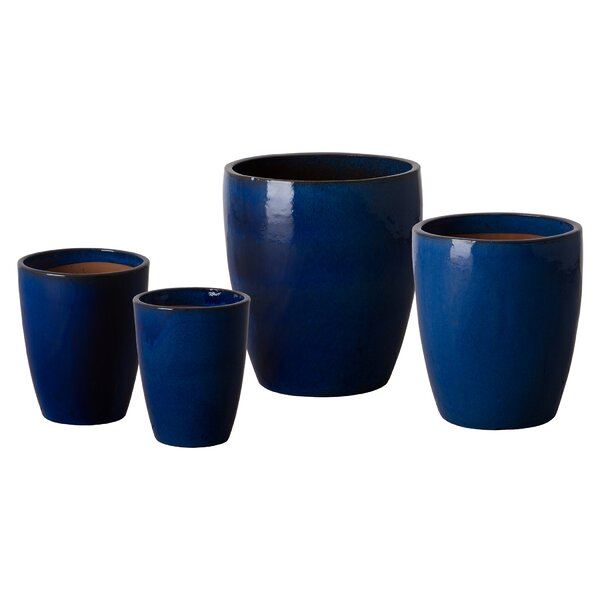 Bullet 4-Piece Ceramic Pot Planter Set by Emissary Home and Garden