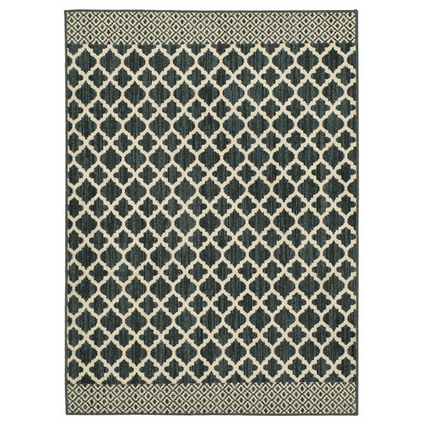 Callihan Moroccan Lattice Dark Khaki/Cream Area Rug by Charlton Home