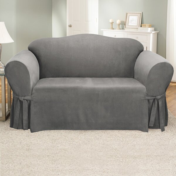 Soft Suede Furniture Box Cushion Loveseat Slipcover By Sure Fit