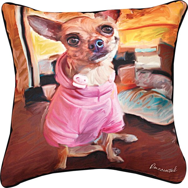 Chihuahua Bella Throw Pillow by Manual Woodworkers & Weavers