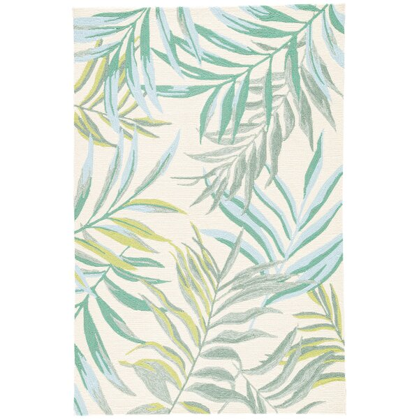 Halona Hand Hooked Green/Cream Indoor/Outdoor Area Rug by Bay Isle Home