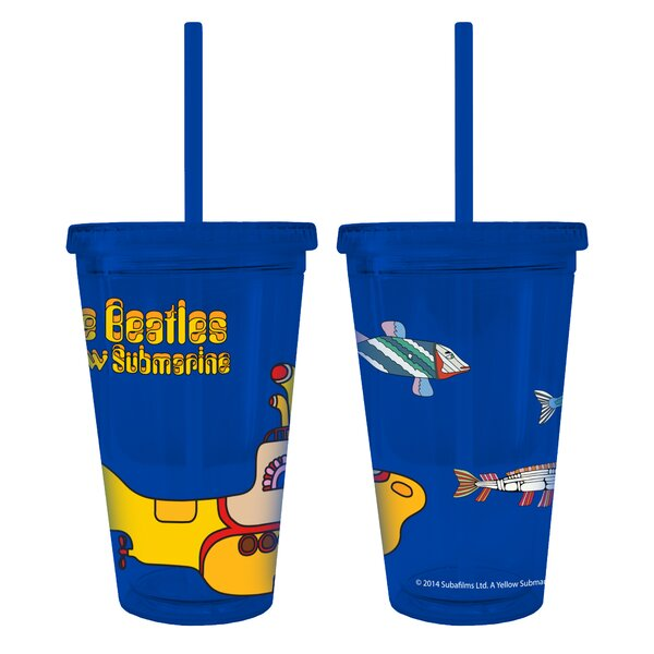 Beatles Yellow Submarine Color Wall Straw 22 oz. Plastic Travel Tumbler by Boelter Brands