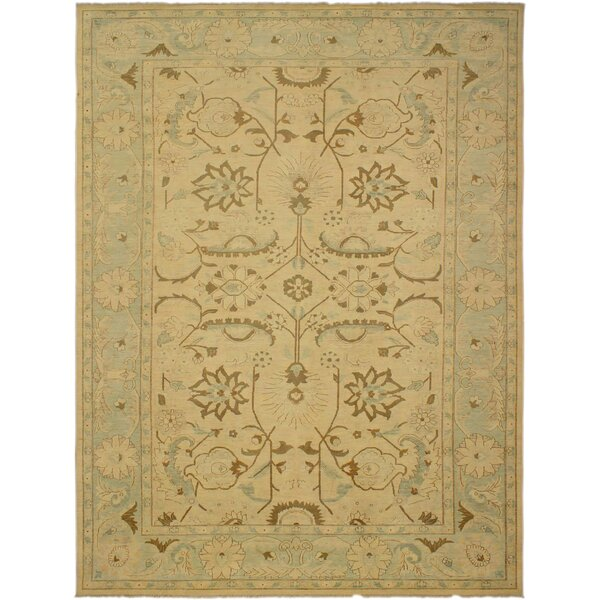 One-of-a-Kind Aarhus Hand-Knotted 1960s Green/Tan 13'3 x 17'9 Wool Area Rug