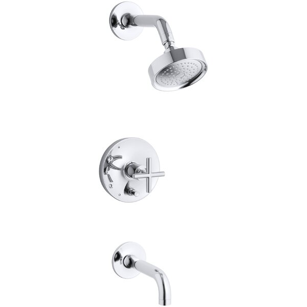 Purist Rite-Temp Pressure-Balancing Bath and Shower Faucet Trim with Push-Button Diverter, 7-3/4 Spout and Cross Handle, Valve Not Included by Kohler