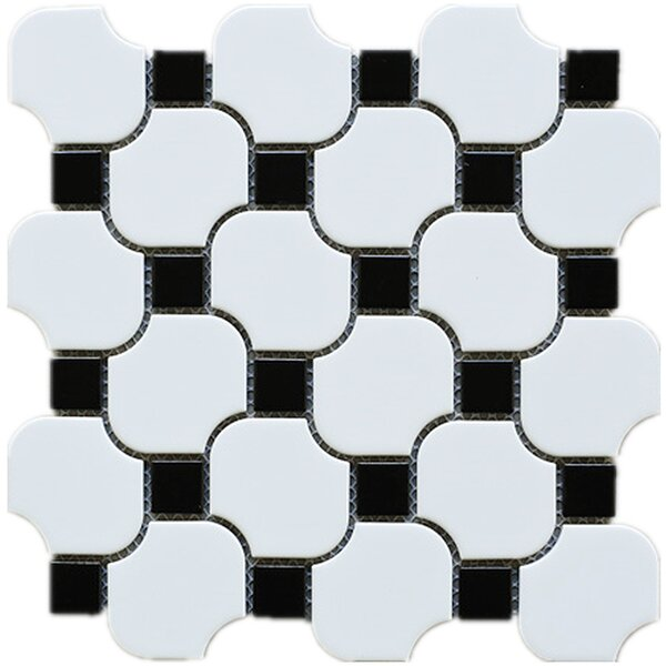 Halibon with Dot Random Sized Porcelain Mosaic Tile in White/Black by Multile