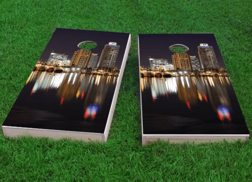 St. Petersburg Skyline Cornhole Game (Set of 2) by Custom Cornhole Boards