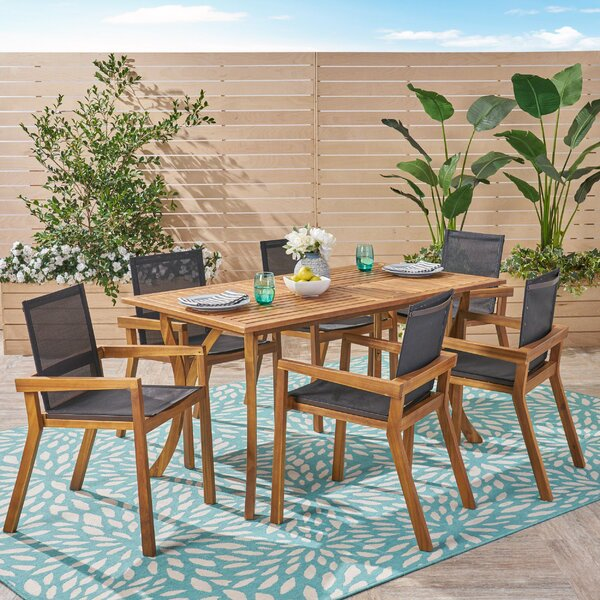 Bermuda Outdoor 7 Piece Teak Dining Set by Union Rustic