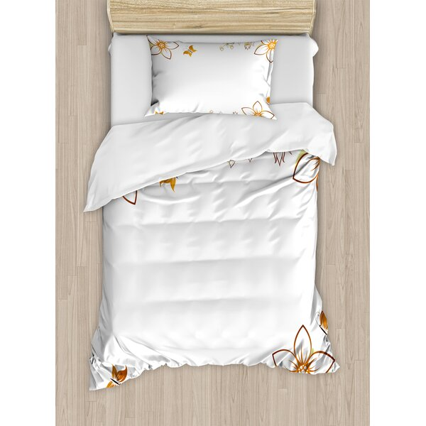 Flowers Leaves Branches Buds Butterflies Frame Like Image Print Duvet Set by East Urban Home
