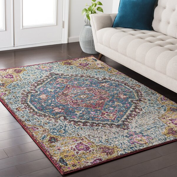 Andersonville Oriental Blue/Pink Area Rug by Bungalow Rose