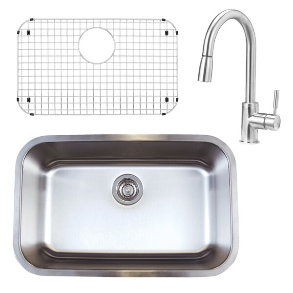 Stellar 18 L x 28 W Undermount Kitchen Sink with Faucet, Sink Grid and Sink Strainer by Blanco