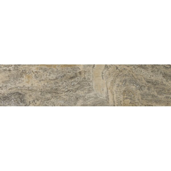 Travertine 6 x 24 Filled and Honed Plank Tile in Vein Cut Silver by Emser Tile