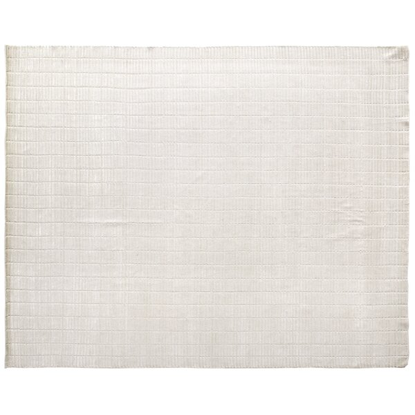 Mini Bars Hand Woven Silk White Area Rug by Exquisite Rugs