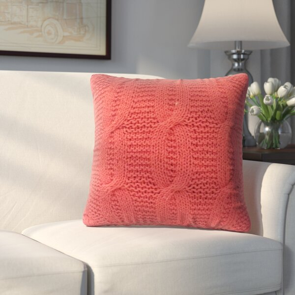 Broadway Village Cable Knit Cotton Throw Pillow by Three Posts