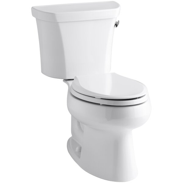 Wellworth Two-Piece Elongated 1.6 GPF Toilet with Class Five Flush Technology and Right-Hand Trip Lever by Kohler