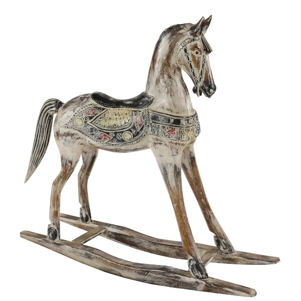 Milliman Handmade Wooden Rocking Horse with Ornamental Saddle Statue by Millwood Pines