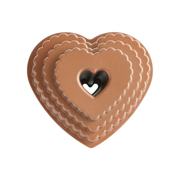 Platinum Tiered Heart Bundt Pan by Nordic Ware
